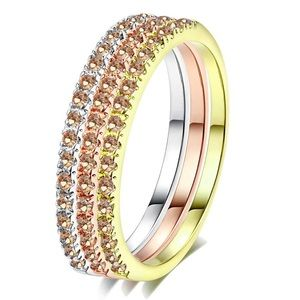 SET OF 3 18K ROSE GOLD  STACKABLE DIAMOND RINGS